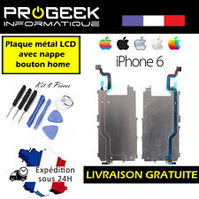 "PLAQUE METAL CARTER ECRAN LCD IPHONE 6 4.7"" + RALLONGE NAPPE BOUTON HOME"