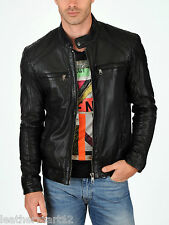 ADARGA Leather Vintage look Designer Jacket Biker Racer Blazer Men's