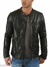 ADARGA Leather Vintage look Designer Jacket Biker Racer Blazer Men's Black