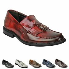 Mens Vintage Polished Leather Tassel Loafers Retro MOD Shoes in Oxblood, Black