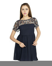 W.A.Y(We Are Young) Lounge Wear Navy Embellished SHORT DRESS for Women_4652_Navy
