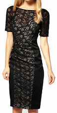 New Womens Karen Millen Lace Satin Pencil Black Cocktail evening party dress