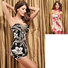 Women Sexy Black Bandeau Mini Dress With Sequins Club Night Cocktail Formal
