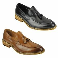 Mens Tan Black Real Leather Tassel Moccasin Vintage Smart Casual Loafers Shoes