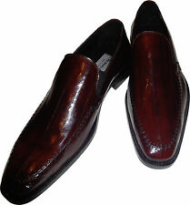 EEL SKIN Men's Ronaldo Solid Wine Italian Leather Loafer Slip On Dress Shoe