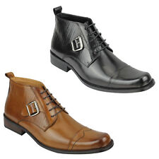 Mens Real Leather Ankle Boots Retro Lace up Formal Shoes in Polished Black, Tan