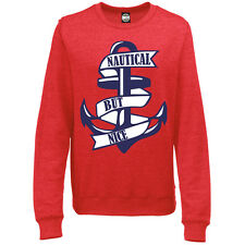 NAUTICAL BUT NICE WOMENS FASHION PRINT ANCHOR BRITISH SEASIDE SWEATSHIRT JUMPER