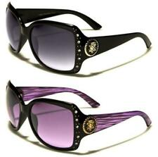 NEW DESIGNER BLACK SUNGLASSES LADIES WOMENS RETRO LARGE WRAP BIG DIAMANTE UV400