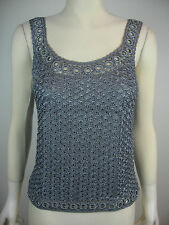 Hand crocheted classic vest style top, wine, grey, black, ivory or gold (refG17)