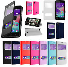 housse Wiko freddy 4g coque flip cover , double fenêtres pour wiko freddy