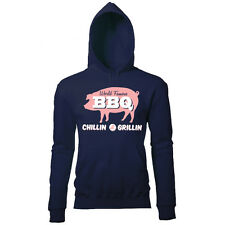 CHILLIN & GRILLIN WORLD FAMOUS BBQ MENS RETRO PRINTED SUMMER CHEF HOODIE