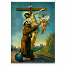 Jesus Christ on the Cross Embracing St. Francis of Assisi Bible Poster A3 Size