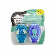 Tommee Tippee 2 Soother Holders Closer to Nature 0m+ Blue 1 2 3 6 Packs