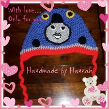 Crochet Thomas the tank engine hat photo prop character hat
