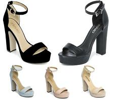 WOMENS LADIES HIGH BLOCK HEEL PLATFORM ANKLE BUCKLE PEEP TOE SHOES SANDALS SIZE