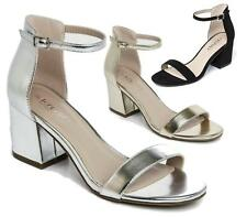 WOMENS BLOCK HEEL PEEP TOE SANDAL PARTY CASUAL LADIES ANKLE STRAP SHOES 3-8
