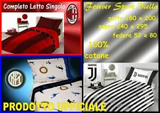 COMPLETO LETTO ( LENZUOLA ) SINGOLO 1 PIAZZA UFFICIALE:JUVENTUS - MILAN - INTER