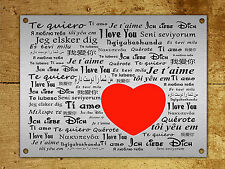 Metal Sign I love you valentines day metallic decorative tin wall plaque gift