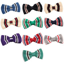 Mens Knitted Polyester 3 Thin Striped Bow Tie - Evening & Special Occasions DQT