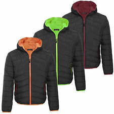 Mens Quilted Jacket Padded Bubble Puffer Hooded Winter Zip Coat