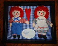 Vintage OOAK Raggedy Ann & Andy Welcome Baby Nursery Shadow Box Wall Hanging