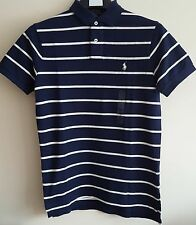 BNWT MENS POLO RALPH LAUREN CUSTOM FIT MESH STRIPED SHORT SLEEVE POLO SHIRT/TOP