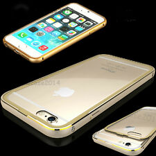 Ultra-Thin Aluminum Metal Bumper Clear Back Case Cover SKin for iPhone 6+Plus 5