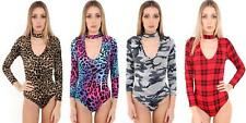 DONNA BODY colletto scollo a V MANICA LUNGA SCOZZESE MACULATO CAMOUFLAGE Body