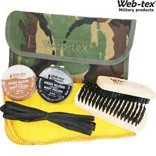 WEB-TEX BOOT CARE KIT CAMO POUCH BLACK & BROWN POLISH BRUSHES LACES ARMY CADET