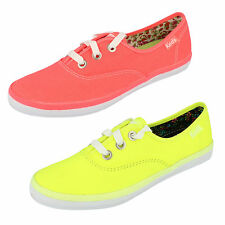 Ladies Rookie Neon Pink/Yellow Textile Canvas Shoes by Keds retail £9.99