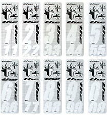 THE Number Sticker Kit (3 numbers & 6 stickers) suit BMX or MTB (White)