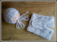 Crochet mohair baby bonnet and shorts set.Photography Props- Baby Crochet Hat