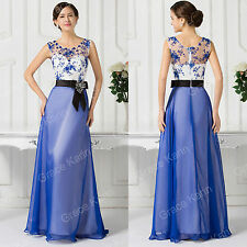 Elegant BLUE Chiffon Bridesmaid Long Prom Formal Evening Dress Lace Party Gowns