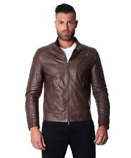 Giacca in pelle uomo U411 BIKER - Giacca in pelle marrone trapuntata spalle