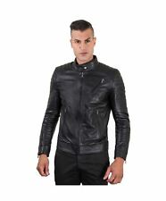Giacca in pelle uomo U411 BIKER - Giacca in pelle nera trapuntata spalle