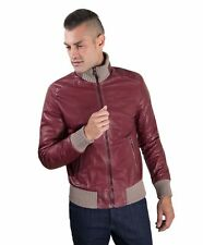 Giacca in pelle uomo BOMBER - Giacca in pelle vinaccia effetto vintage lana a co