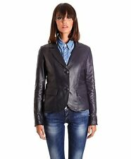 Giacca in pelle donna BLAZER • colore blu • giacca in pelle due bottoni nappa ef