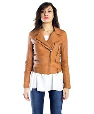 Giacca in pelle donna BARBARA • colore cuoio • giacca biker in pelle nappa effet