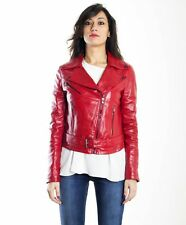 Giacca in pelle donna SANDY CHIODO • colore rosso • giacca chiodo in pelle con c