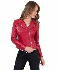 Giacca in pelle donna NADIA • colore rosso • giacca chiodo in pelle trapuntata n