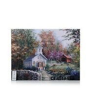 Winter Lane Fiber-Optic Lit Canvas Art with Remote - Country Church Gorgeous New