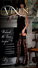 New VIXEN BY COUTURE  BLACK Wide lace top Fishnet  HOLD UPS NEW Style LIZ