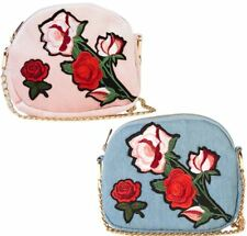 Womens New Rose Embroided Denim PU Shoulder Bag Designer Fashion Bag Purse