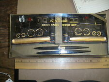 vintage,book ends,locomotives,desk set,windsor,new in box,nr