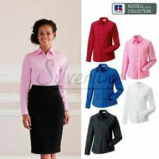 Russell Collection Women's long sleeve pure cotton easycare poplin shirt