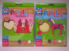Kids Create Wooden Puzzle Paint - Make your own Pony - Fairy castle Game Jigsaw