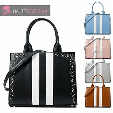 Ladies New Striped Faux Leather Handbag Shoulder Strap Diamonte Purse Tote Bag