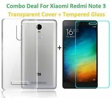 Soft Silicon Transparent Back Cover Case / Tempered Glass