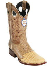 Men's Wild West Genuine Caiman Belly With Saddle Vamp Square Toe Boots Hand