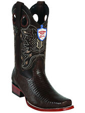 Men's Wild West Genuine Teju Lizard Square Toe Western Rodeo Boots Handmade